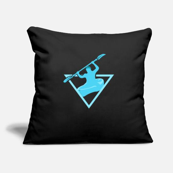 Aquatics Pillow Cases - Oar while rowing in blue Gift kayaking water - Pillowcase 17,3'' x 17,3'' (45 x 45 cm) black