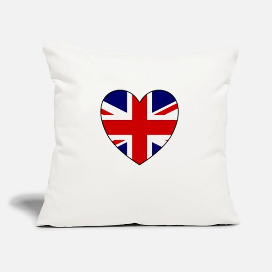 London Pillow Cases - GB Heart - Pillowcase 17,3'' x 17,3'' (45 x 45 cm) natural white