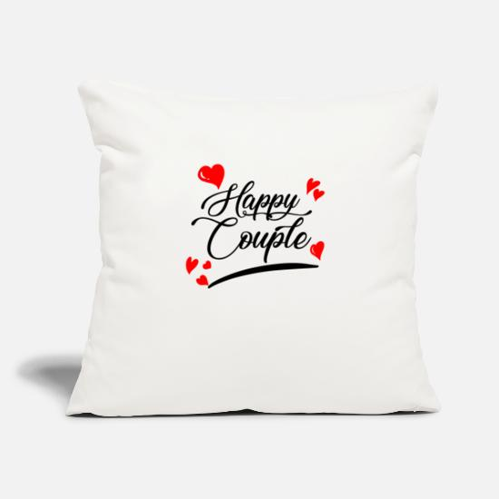 Lovely Pillow Cases - Happy couple - Pillowcase 17,3'' x 17,3'' (45 x 45 cm) natural white