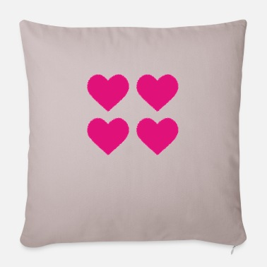 4 hearts beat for love - Pillowcase 17,3'' x 17,3'' (45 x 45 cm)