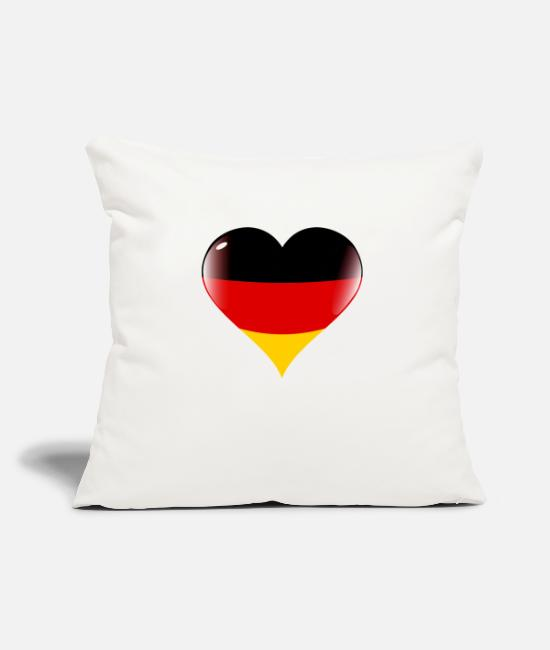 Heart Pillow Cases - Germany heart flag - Pillowcase 17,3'' x 17,3'' (45 x 45 cm) natural white