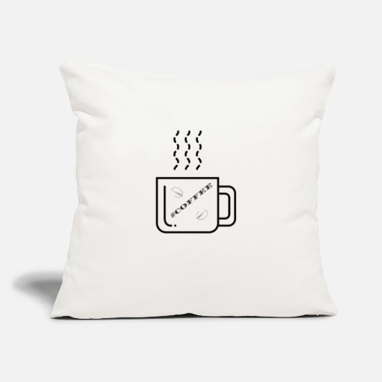 Caffeine Pillow Cases - COFFEE, coffee - Pillowcase 17,3'' x 17,3'' (45 x 45 cm) natural white
