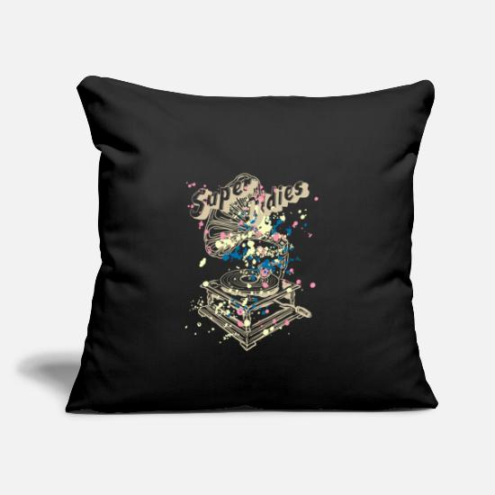 Gramophone Pillow Cases - Super oldies gramophone in beige / colored - Pillowcase 17,3'' x 17,3'' (45 x 45 cm) black