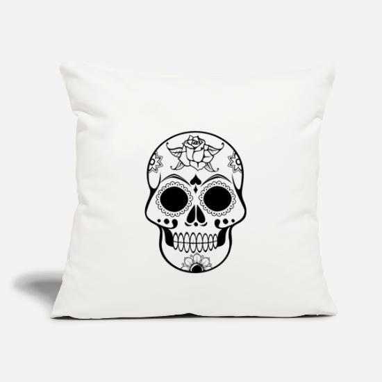 Decorated Pillow Cases - Skull Decorated - Pillowcase 17,3'' x 17,3'' (45 x 45 cm) natural white