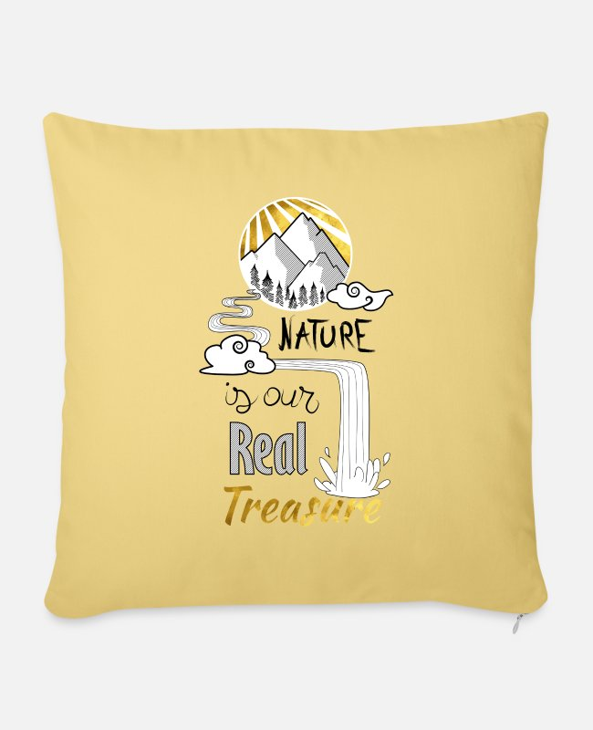 Nature Pillow Cases - nature's treasure - Pillowcase 17,3'' x 17,3'' (45 x 45 cm) washed yellow