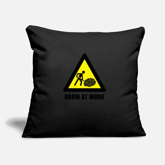 Warning Pillow Cases - Brain at Work - Pillowcase 17,3'' x 17,3'' (45 x 45 cm) black