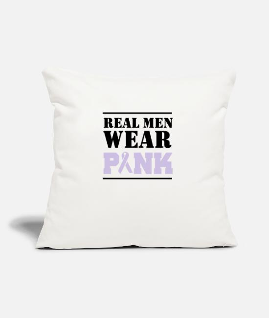 Pink Pillow Cases - Real Men Wear Pink - Pillowcase 17,3'' x 17,3'' (45 x 45 cm) natural white