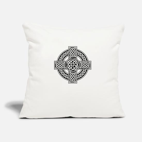 Celtic Pillow Cases - Celtic cross irish scottish - Pillowcase 17,3'' x 17,3'' (45 x 45 cm) natural white