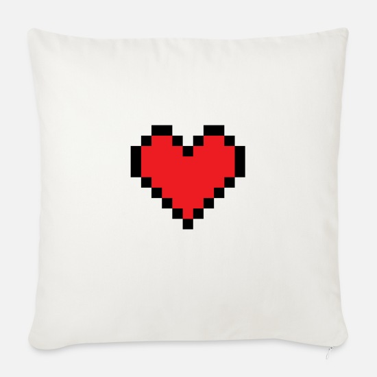 Heart Pillow Cases - Pixel heart - Pillowcase 17,3'' x 17,3'' (45 x 45 cm) natural white