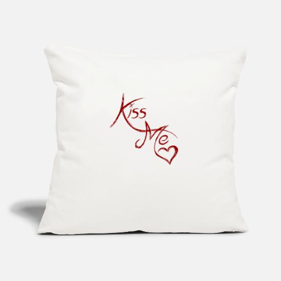 Print Pillow Cases - Kiss me - kiss me - Pillowcase 17,3'' x 17,3'' (45 x 45 cm) natural white