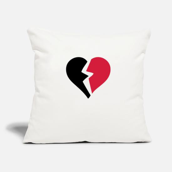 Broken Pillow Cases - love heart heart break break break - Pillowcase 17,3'' x 17,3'' (45 x 45 cm) natural white