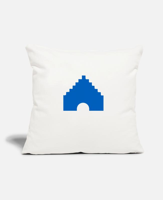Landmark Flensburg Pillow Cases - Nordertor of Flensburg in blue - Pillowcase 17,3'' x 17,3'' (45 x 45 cm) natural white