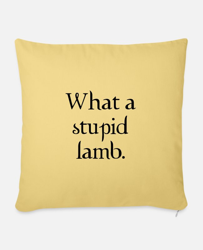 New Pillow Cases - What a stupid lamb - Pillowcase 17,3'' x 17,3'' (45 x 45 cm) washed yellow