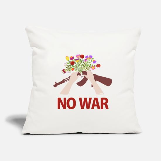 Peace Pillow Cases - NO WAR - Pillowcase 17,3'' x 17,3'' (45 x 45 cm) natural white