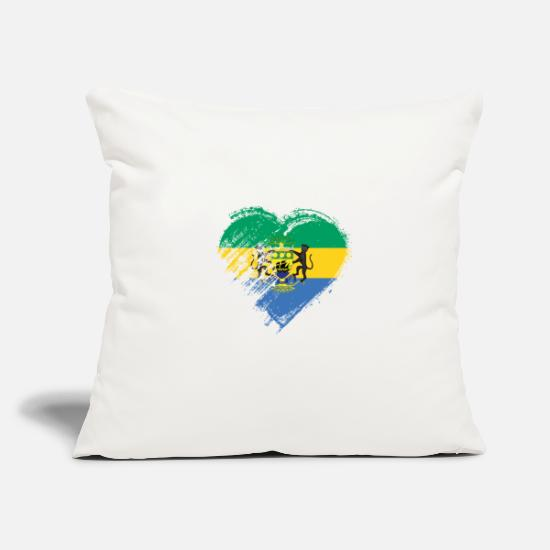 Love Pillow Cases - Grungy I Love Gabon Heart Flag - Pillowcase 17,3'' x 17,3'' (45 x 45 cm) natural white