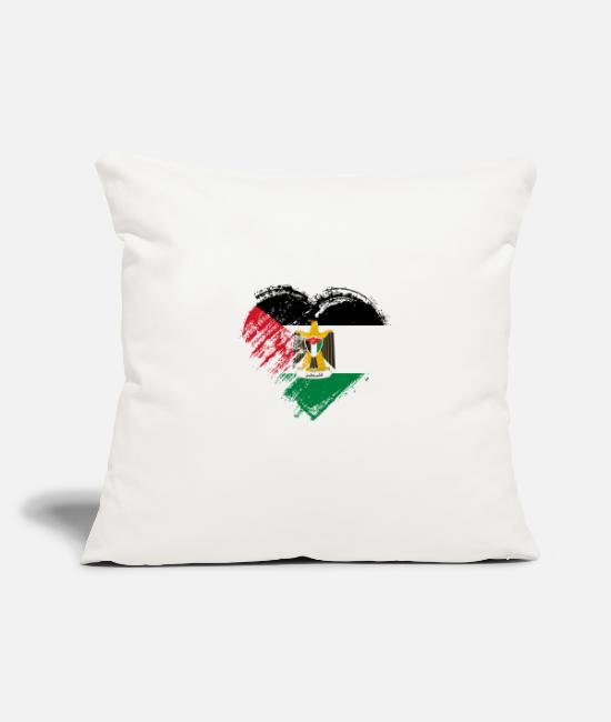 Heart Pillow Cases - Grungy I Love Palestine Heart Flag - Pillowcase 17,3'' x 17,3'' (45 x 45 cm) natural white