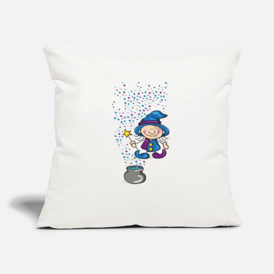 Magic Pillow Cases - Little Witch with Hat and Wand - Pillowcase 17,3'' x 17,3'' (45 x 45 cm) natural white