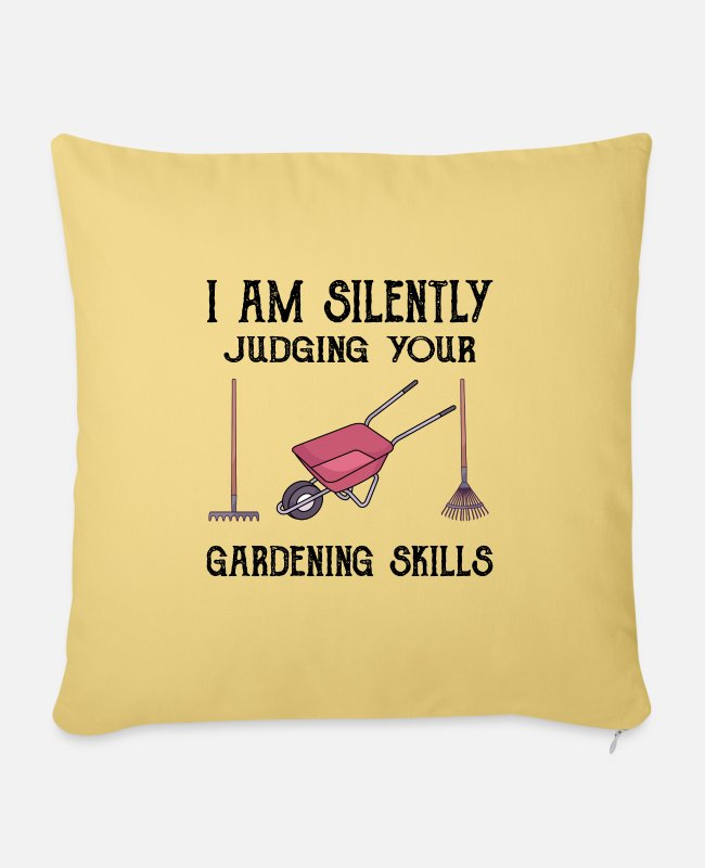 Nature Pillow Cases - GARDENING: silently judging your gardening skills - Pillowcase 17,3'' x 17,3'' (45 x 45 cm) washed yellow