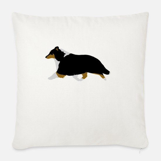 Tricolour Pillow Cases - Shetland Sheepdog Trotting (tricolour) - Pillowcase 17,3'' x 17,3'' (45 x 45 cm) natural white