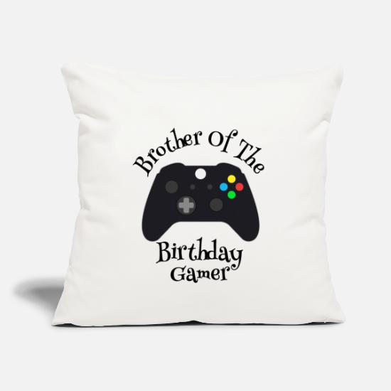 Play Pillow Cases - Brother Of Birthday Gamer, Video Game Brother - Pillowcase 17,3'' x 17,3'' (45 x 45 cm) natural white