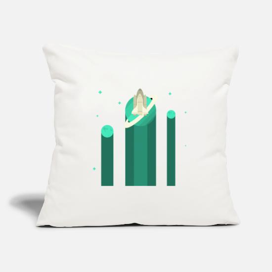 Shooting Star Pillow Cases - Planet Space Shuttle green - Pillowcase 17,3'' x 17,3'' (45 x 45 cm) natural white