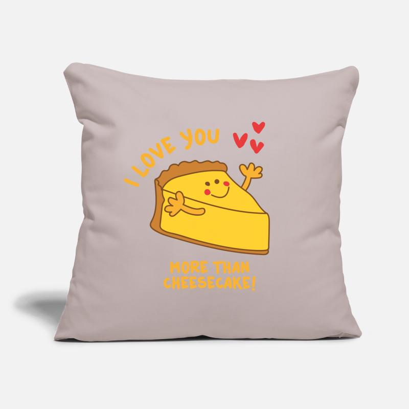 Cheesecake Pillow cases - I love you more than Cheesecake - Cushion Cover light grey