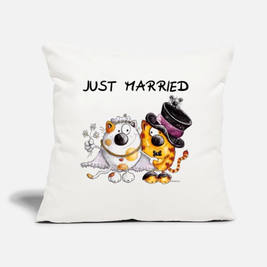 Wedding Pillow Cases -  Just Married - Pillowcase 17,3'' x 17,3'' (45 x 45 cm) natural white