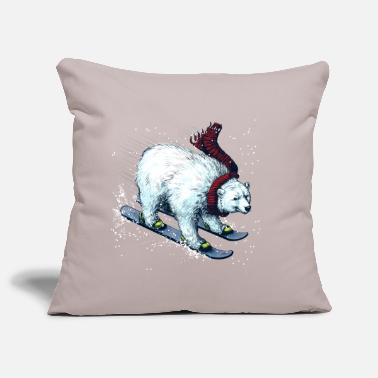Christmas Polar Bear Ski - Pillowcase 17,3'' x 17,3'' (45 x 45 cm)