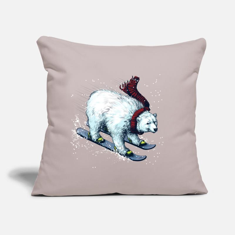 Funny Pillow cases - Polar Bear Ski - Pillowcase 17,3'' x 17,3'' (45 x 45 cm) light grey