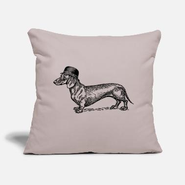dog with hat - Housse de coussin décorative 44 x 44 cm