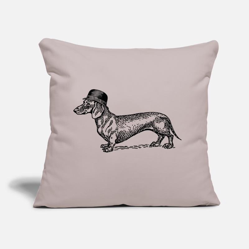 Funny Pillow cases - Dog with hat - Pillow Case light grey