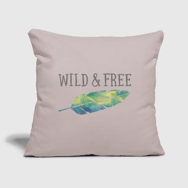 Wild & Free (Watercolor Feather) - Sofa pillow cover 44 x 44 cm