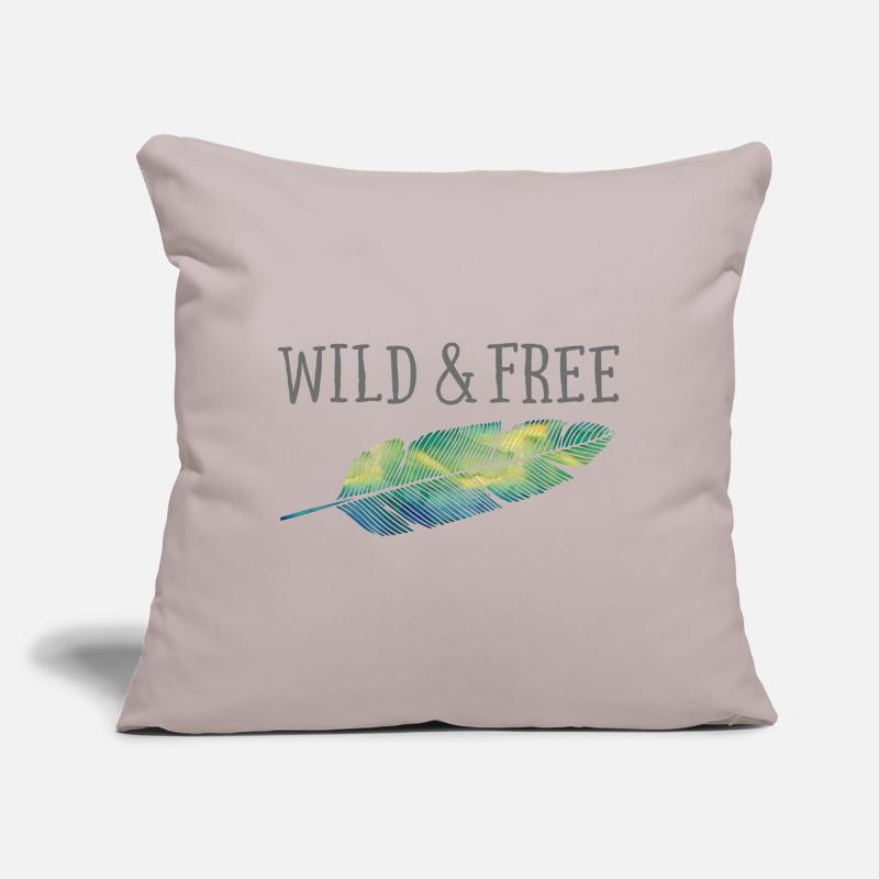Bestseller Pillow cases - Wild & Free (Watercolor Feather) - Pillow Case light grey