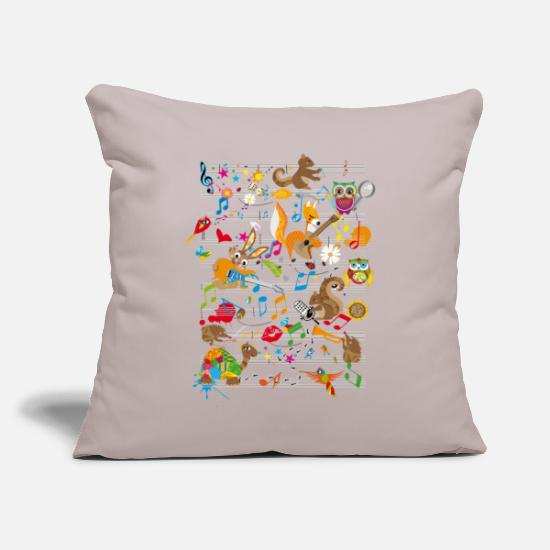Music Pillow Cases - Concert of Animals - Pillowcase 17,3'' x 17,3'' (45 x 45 cm) light grey