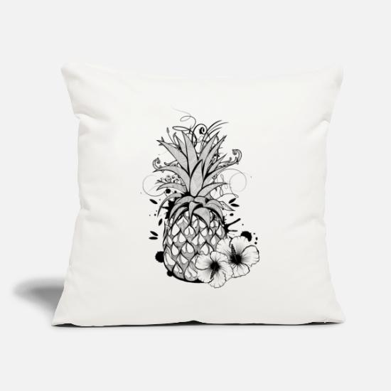 Tropical Pillow Cases - Pineapple with hibiscus blossom - Pillowcase 17,3'' x 17,3'' (45 x 45 cm) natural white