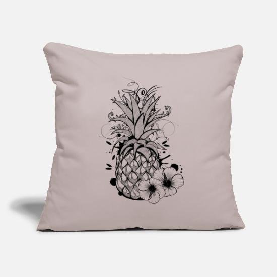 Collections Fundas para cojines - Pineapple with hibiscus blossom - Funda de cojín gris claro