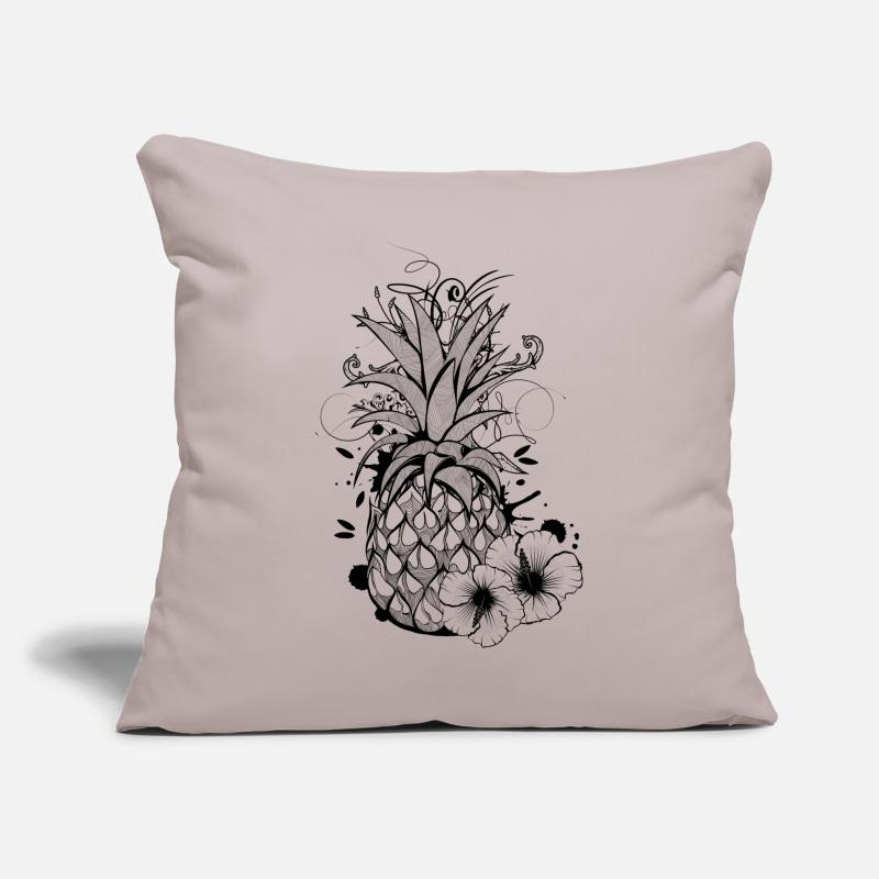 Collections Backup Pillow cases - Pineapple with hibiscus blossom - Pillowcase 17,3'' x 17,3'' (45 x 45 cm) light grey
