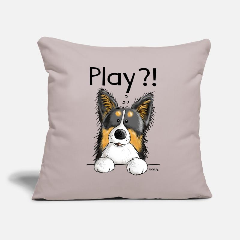 Border Collie Pillow Cases - Playing Border Collie - Dog - Dogs - Gift - Pillowcase 17,3'' x 17,3'' (45 x 45 cm) light grey