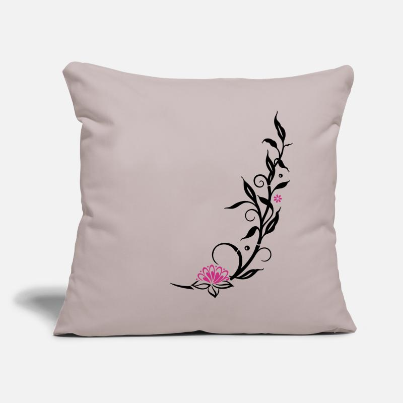 Bamboo Pillow cases - Bamboo with small blossoms and lotus flower. - Pillow Case light grey