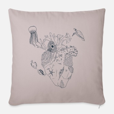Nature Heart of the Sea (Lineart) - Pillowcase 17,3'' x 17,3'' (45 x 45 cm)
