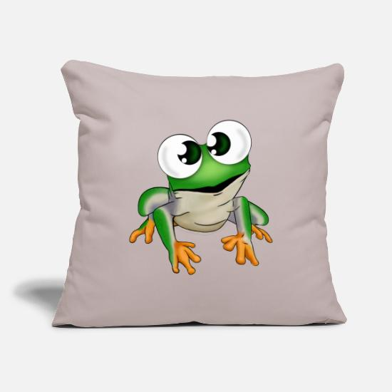 Pond Pillow Cases - Fimy the frog - Pillowcase 17,3'' x 17,3'' (45 x 45 cm) light grey
