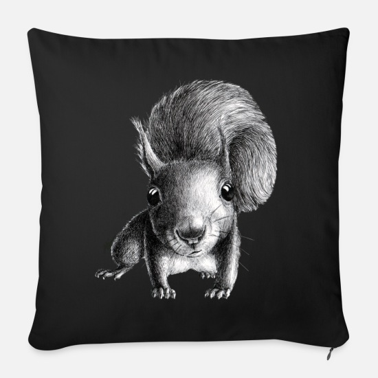 Small Pillow Cases - curious squirrel - Pillowcase 17,3'' x 17,3'' (45 x 45 cm) black