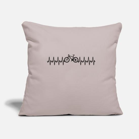 Gift Idea Pillow Cases - Bicycle | Cycling | Heartbeat | Heartbeat - Pillowcase 17,3'' x 17,3'' (45 x 45 cm) light grey