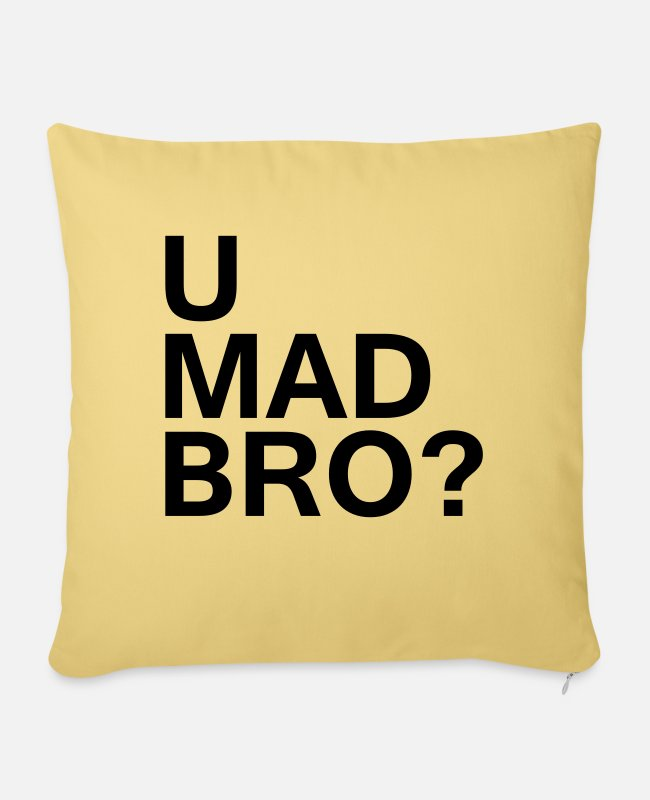 Hipster Pillow Cases - U mad bro? - Pillowcase 17,3'' x 17,3'' (45 x 45 cm) washed yellow