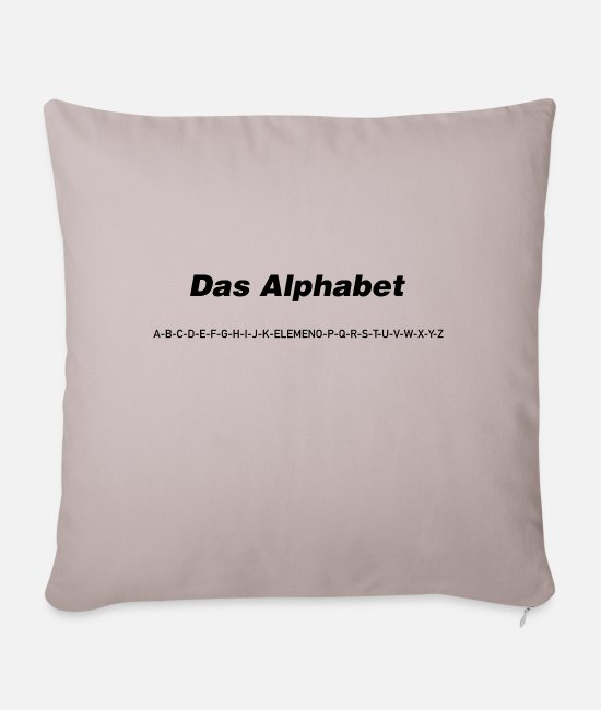 "Alphabet Pillow Cases - The alphabet (""spoken"") - Pillowcase 17,3'' x 17,3'' (45 x 45 cm) light taupe"