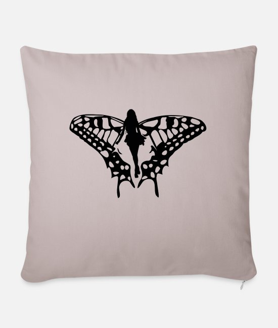 Drawing Pillow Cases - Black elf with big wings - Pillowcase 17,3'' x 17,3'' (45 x 45 cm) light taupe