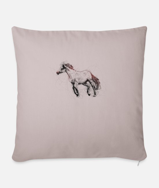 Ride A Horse Pillow Cases - Drawing galloping stallion - Pillowcase 17,3'' x 17,3'' (45 x 45 cm) light taupe