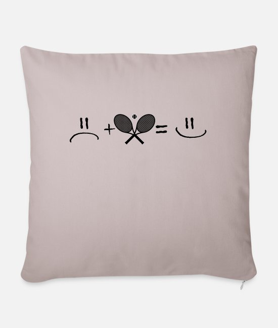 Ball Pillow Cases - Unhappy plus tennis is happy - Pillowcase 17,3'' x 17,3'' (45 x 45 cm) light taupe