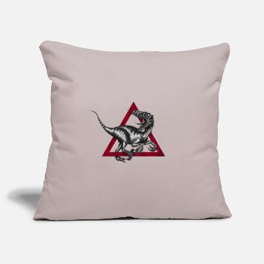 Primeval Times The Velociraptor in the triangle - red - illustration - Pillowcase 17,3'' x 17,3'' (45 x 45 cm)