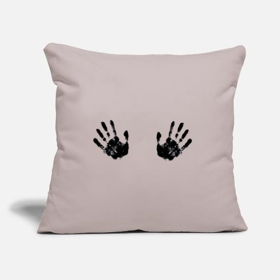 Gift Idea Pillow Cases - black handprints on the breasts - Pillowcase 17,3'' x 17,3'' (45 x 45 cm) light grey